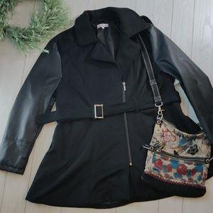 Decibel( Macy's) wool coat with PU leather sleeves